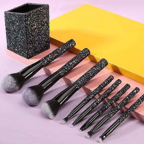 Set de brochas Sparkle Brush Set With Holder (Black)