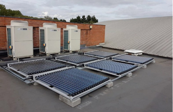 Solar Cooling system installation at White Horse Leisure centre for Greenwich Leisure