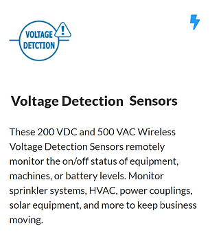 How voltage meters work: 0–200 VDC or 0–500 VAC sensors measure the voltage between two electrical points, such as batteries or other sensors; measured voltage is reported. #warehousing