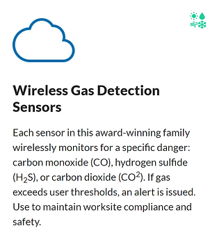 Wireless Gas Detection Sensors- Gas Detection Sensors each wirelessly monitor for carbon monoxide (CO), hydrogen sulfide (H2S), or carbon dioxide (CO2). If gas concentrations exceed preset thresholds, designated personnel are alerted via text, email, or call.    #logistics #transport #shipping #transportation