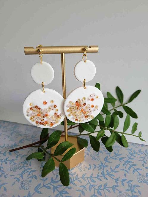 Elina White Circle Earrings, Polymer Clay Earrings, Handmade Earrings