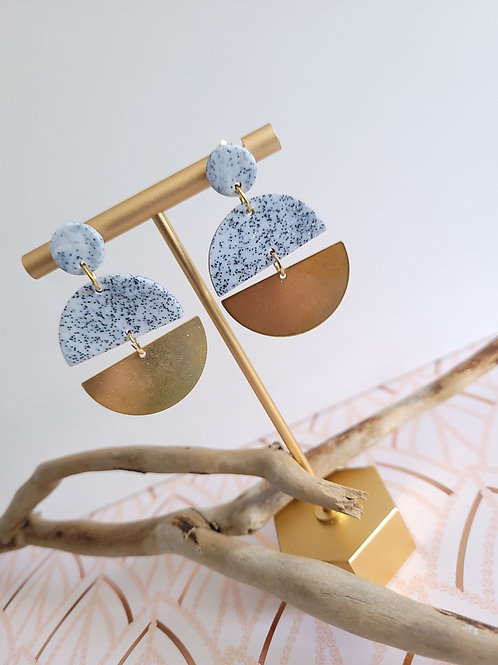 Alexis Granite and Brass Circle Dangle Stud Earrings, Handmade Earrings
