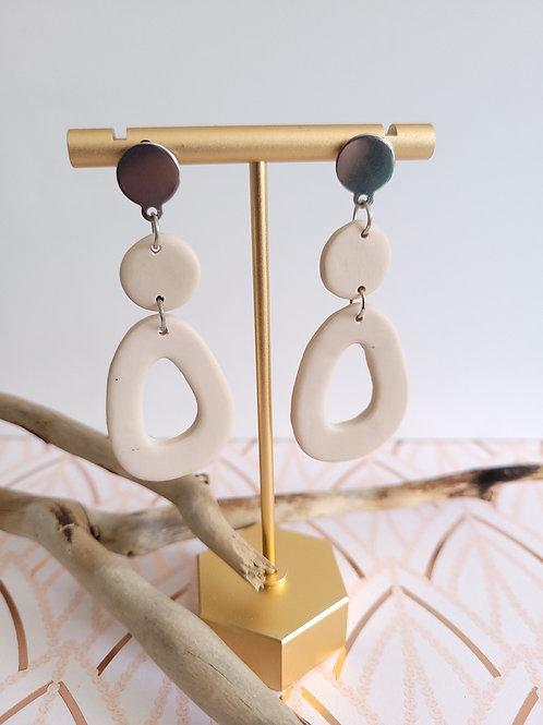 Alana Hallow Nude Pebble Dangle Stud Earrings, Handmade Earrings