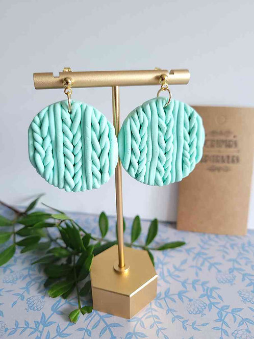 Elia Mint Green Knit Circle Dangle Stud Earrings, Handmade Earrings