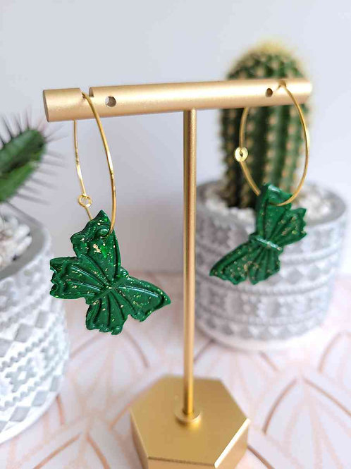 Butterfly Earrings, Hoop Earrings, Green Earrings
