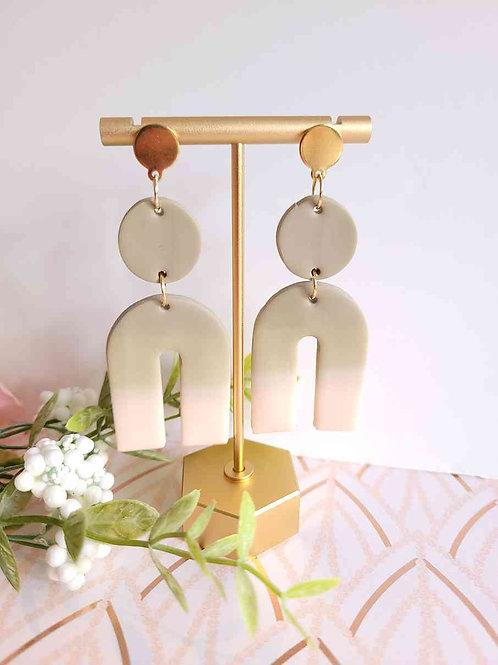 Eva Mocha Polymer Clay Arch Dangle Earrings, Handmade Earrings