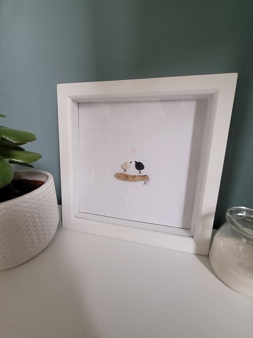 Love Birds Pebble Art- Framed