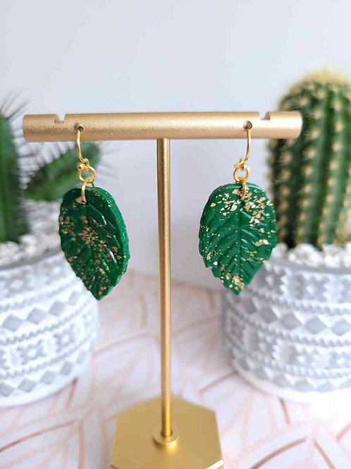 Green Leaf Earrings, Polymer Clay Earrings, Drop Earrings