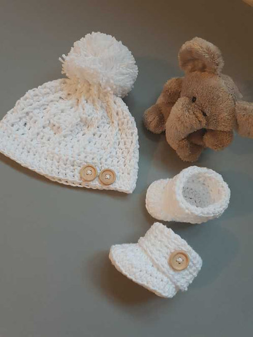 Crochet Hat and Booties Set (Made to Order) Whites to Blacks