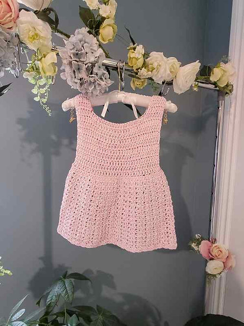 Pink Cotton Crochet Baby Dress