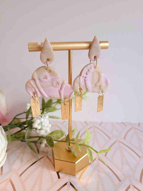Emry Strawberry Clouds Polymer Clay Dangle Earrings, Handmade Earrings