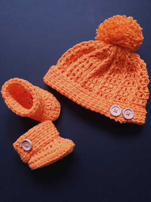 Crochet Hat and Booties Set (Made to Order) Yellows to Oranges