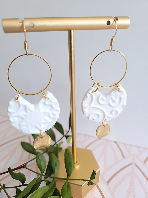 Aria White & Gold Polymer Clay Drop Earrings, Earrings & Necklace Set