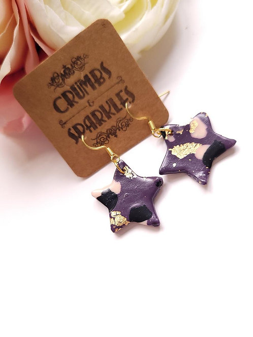 Purple Polymer Clay Star Drop Earrings