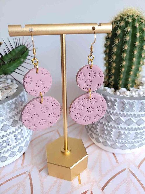 Evie Dusty Pink Dangle Earrings, Handmade Polymer Clay Earrings, Circle Earring
