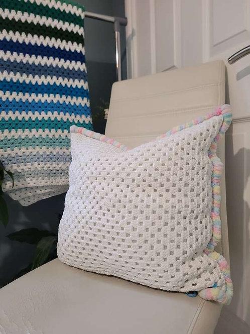 White Granny Square Crochet Cushion
