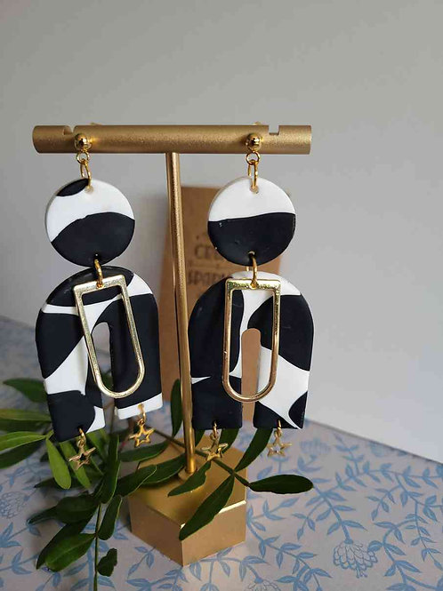 Edith Cow Print Arch Statement Earrings, Handmade Earrings