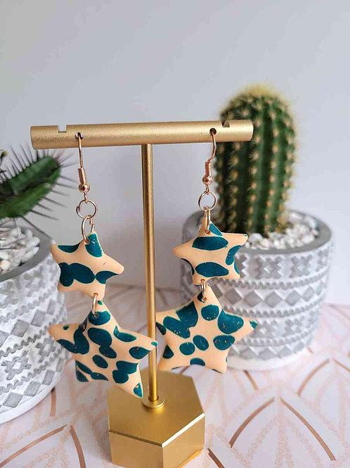Star Dangle Earrings, Star Drop Earrings, Polymer Clay Earrings