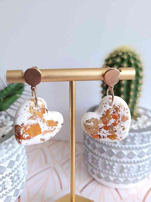 Colbie White Copper Love Heart Stud Dangle Polymer Clay Earrings