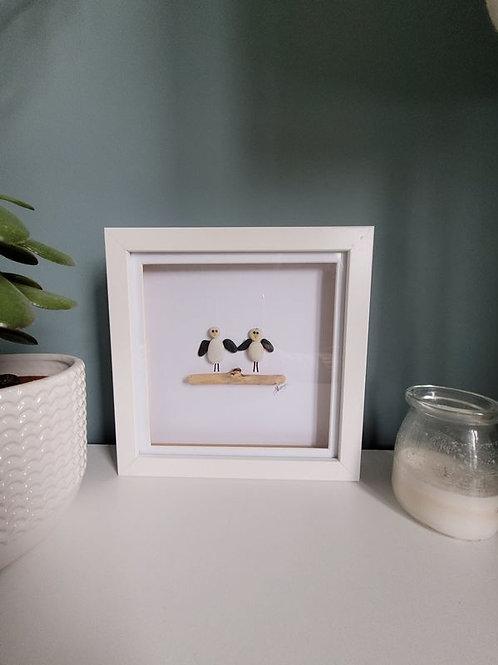 Seagull Framed Pebble Art