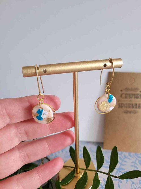 Cindy Circle Pink, Teal and Brass Polymer Clay Dangle Earrings