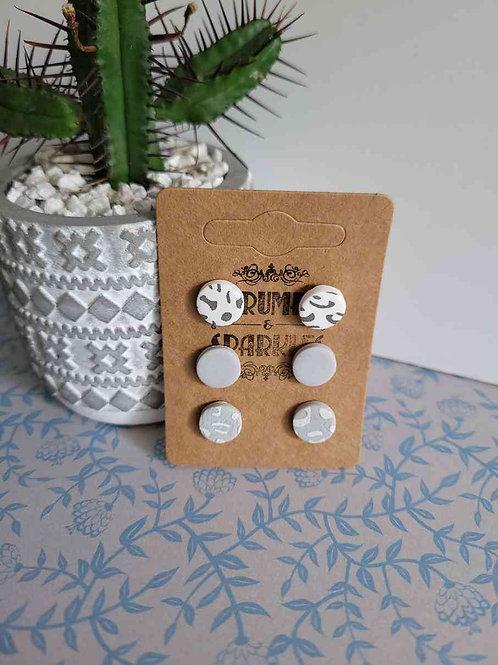 Clara Grey Leopard Print Stud Pack of 3 Handmade Earrings
