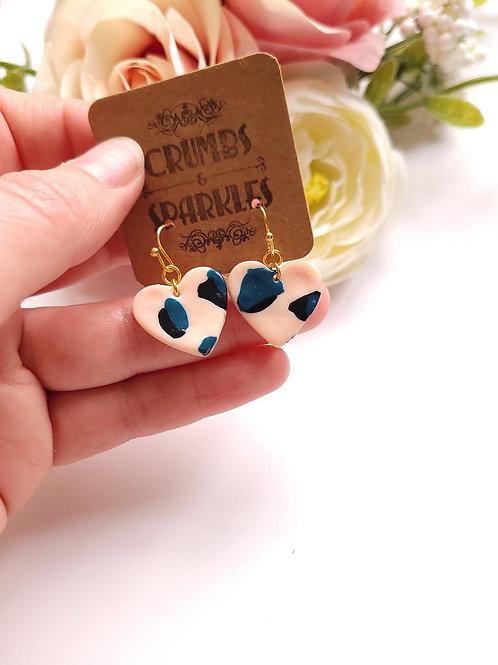 Pink Leopard Print Love Heart Polymer Clay Earrings