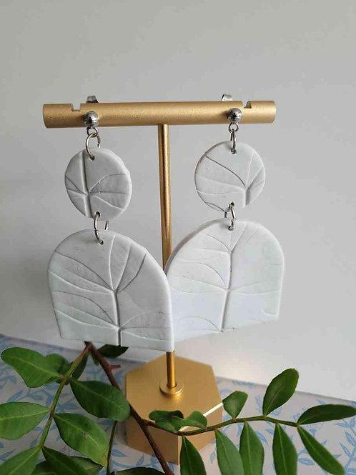 Emilee Grey Real Leaf Imprint Arch Earrings, Handmade Earrings