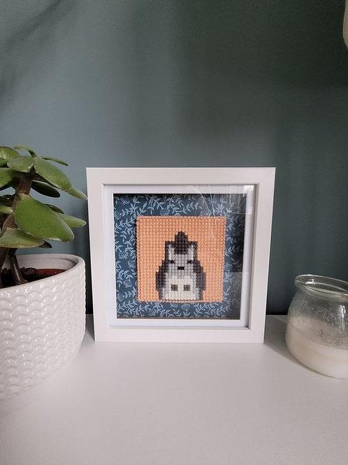 Framed Squirrel Cross Stitch Wall Art