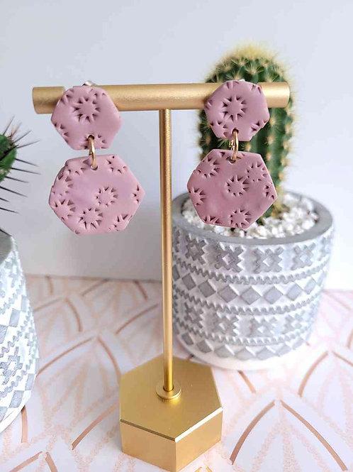Dusty Pink Hexagon Stud Earrings, Dangle Earrings, Polymer Clay Earrings