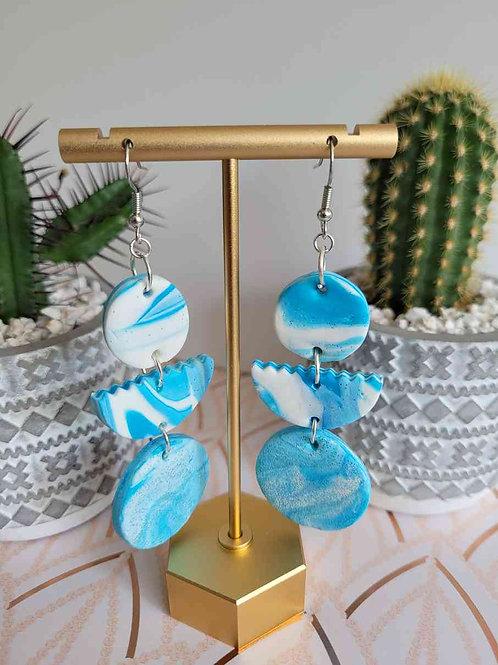 Blue Circle Skies Dangle Earrings, Polymer Clay Earrings, Drop Earrings