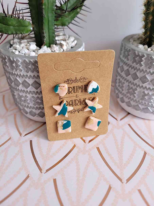 Polymer Clay Stud Earring Pack of 3
