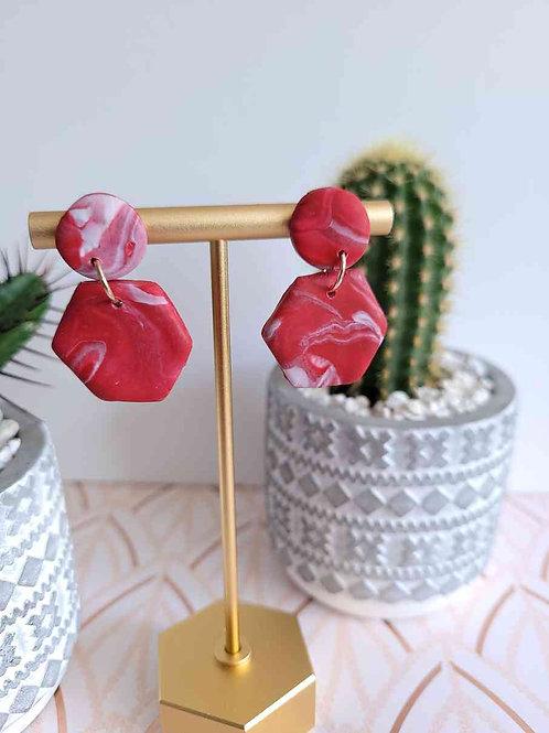 Red Stud Earrings, Red Dangle Earrings, Polymer Clay Earrings