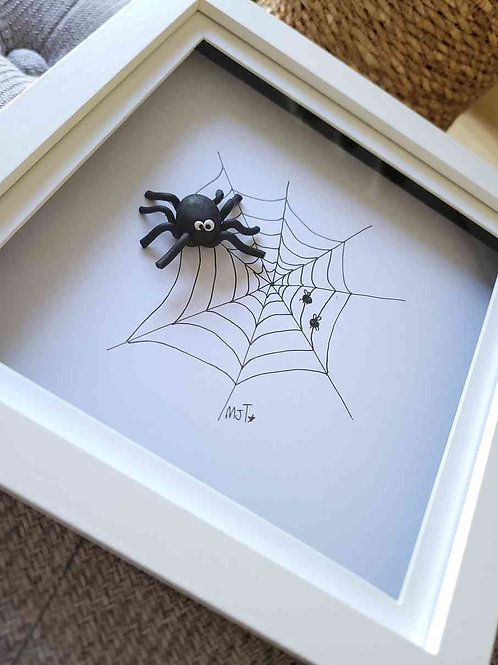 Spidey Polymer Clay Spider Framed Wall Art