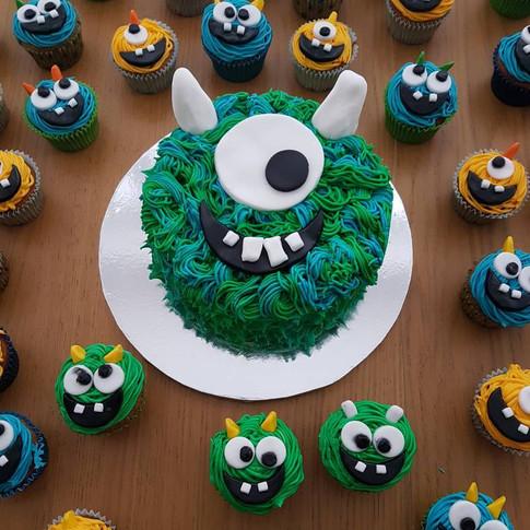 Matching Monster Cake & Cupcakes