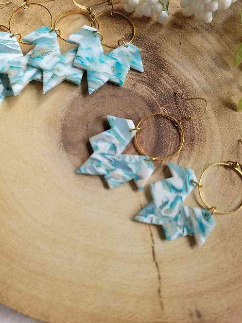 Betty Aztec Earth Raw Brass Earrings, Polymer Clay Earrings, Handmade Earrings