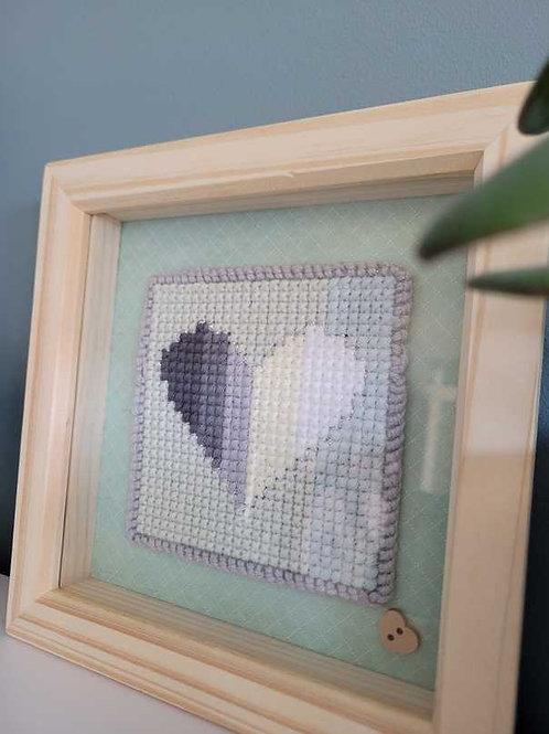 Grey Love Heart Framed Cross Stitch Art