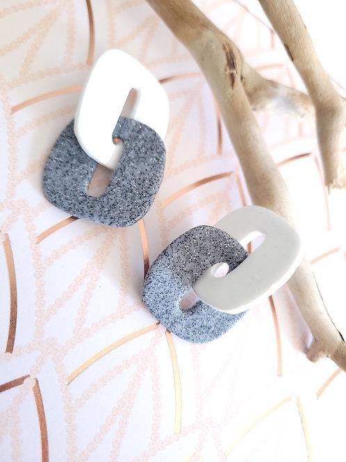 Alina Granite & White Chain Link Stud Earrings, Handmade Earrings