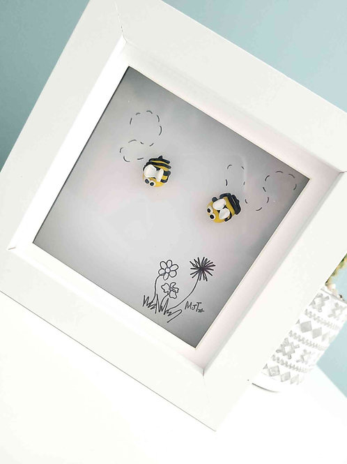 Bee Happy, Framed Buzzy Bee Art, Polymer Clay Art