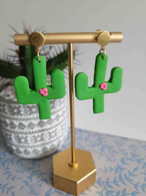 Elis Fun Green Cactus Dangle Stud Earrings, Handmade Earrings