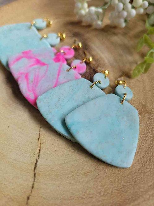 Birdie Trapezium Dangle Polymer Clay Earrings, Handmade Earrings
