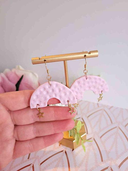 Elora Strawberry Rainbow Dangle Polymer Clay Earrings, Handmade Earrings