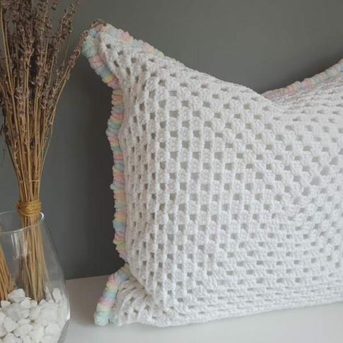 White Crochet Cushion