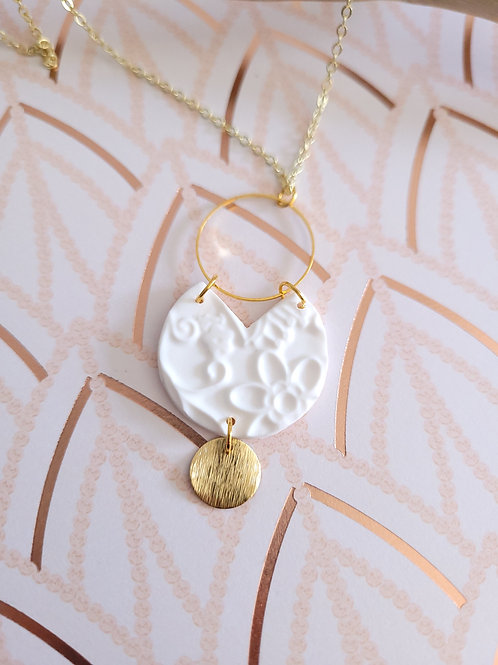Aria White & Gold Polymer Necklace, Necklace and Earring Set, Handmade Necklace