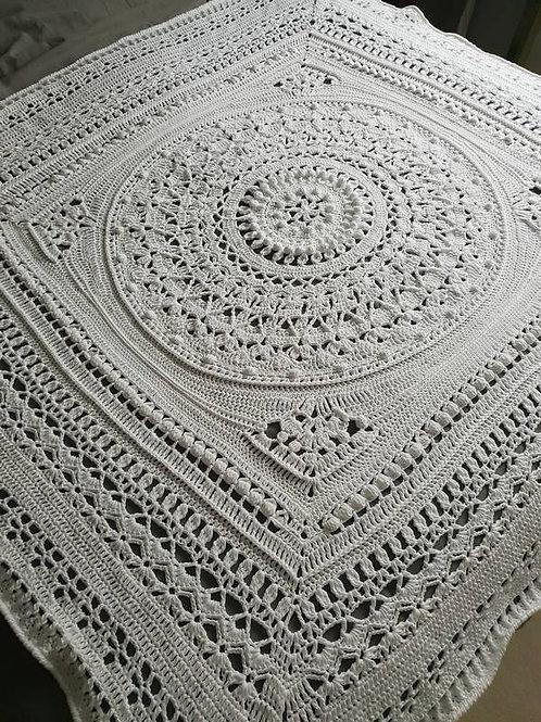 White Cotton Crochet Blanket