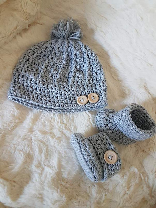 Crochet Hat and Booties Set (Made to Order) Creams to Browns