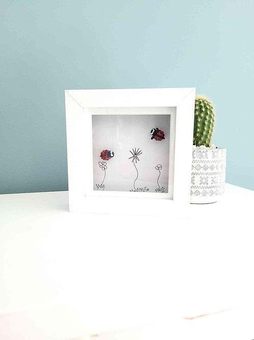 Ladybug Polymer Clay Framed Art