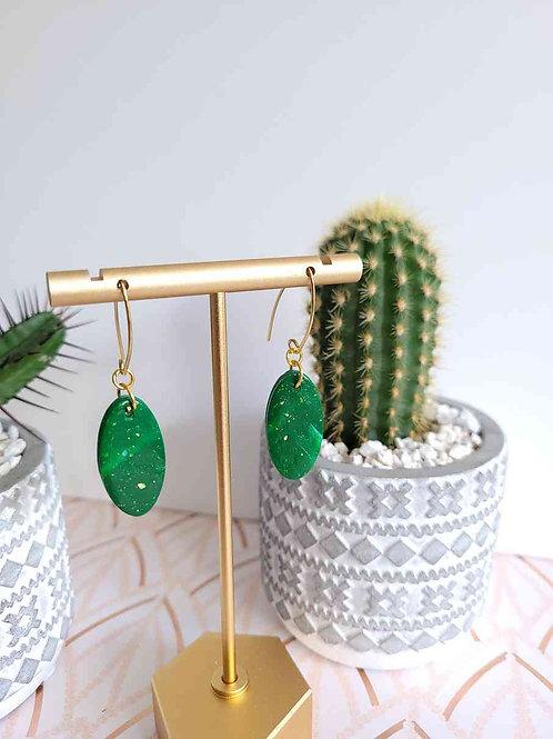 Oval Drop Earrings, Polymer Clay Earrings, Green Drop Earrings