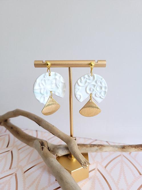 Ava White & Gold Dangle Stud Earrings, Handmade Earrings, Polymer Clay Earrings