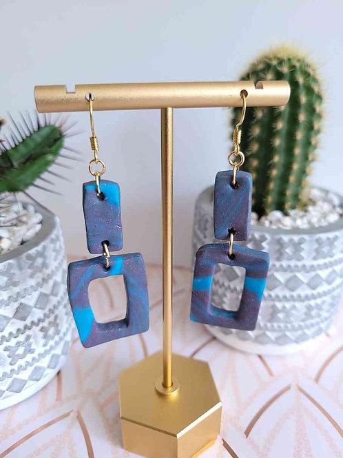 Rectangle Dangle Earrings, Polymer Clay Earrings, Blue Rectangle Earrings